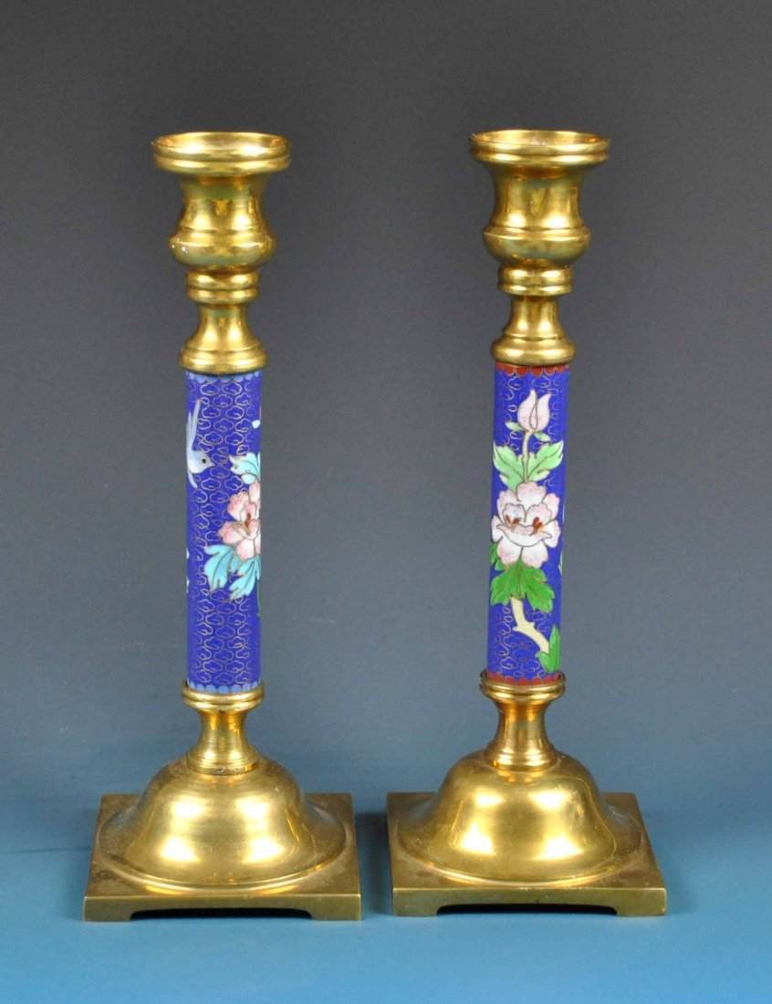 Pair Of Chinese Cloisonne Candle Holder