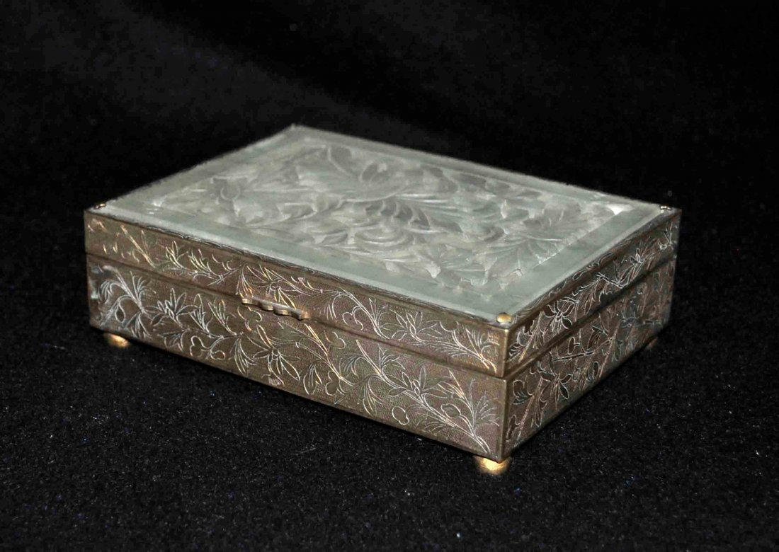 Chinese Bronze Box W. Carved Jade Top