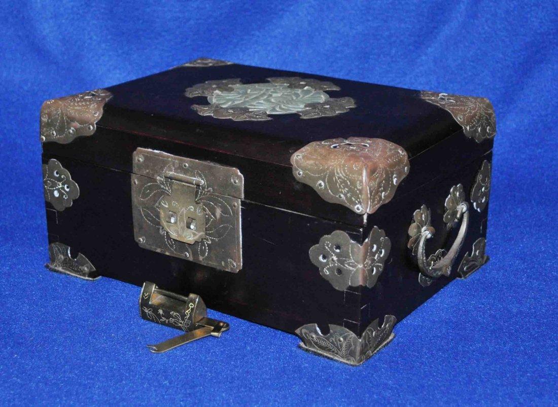 Chinese Wood Box W. Bronze & Jade