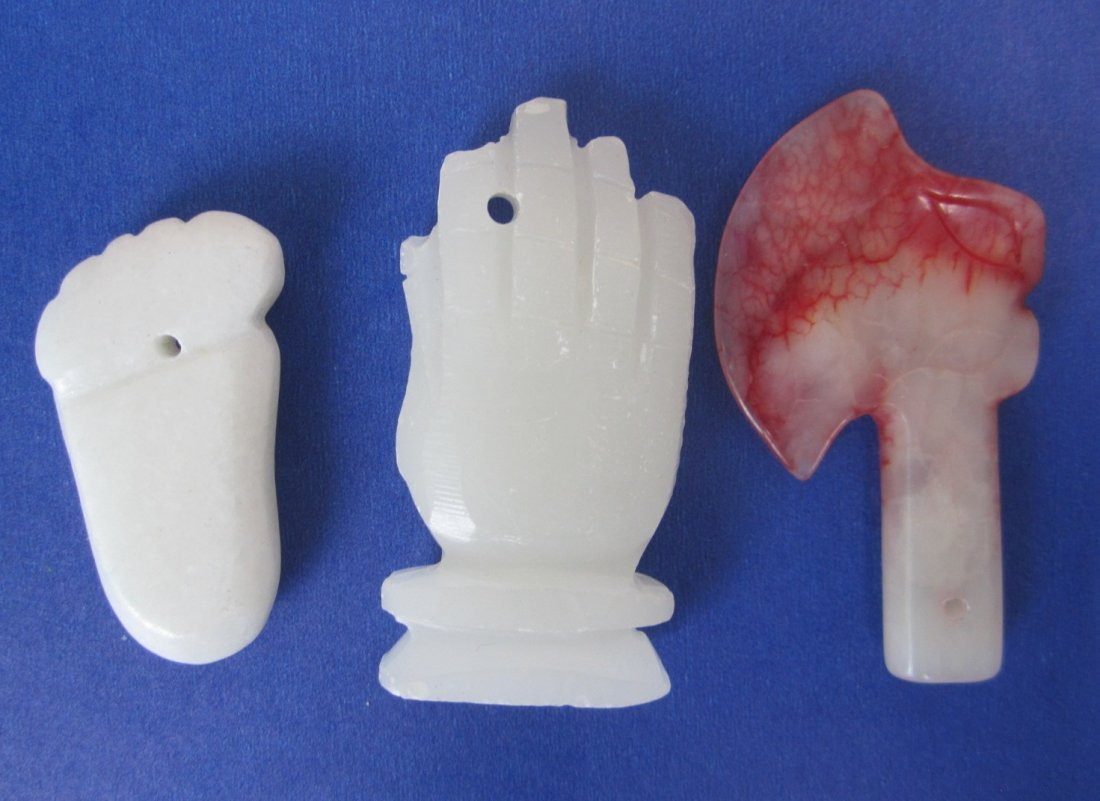 Three carved Jade plaques