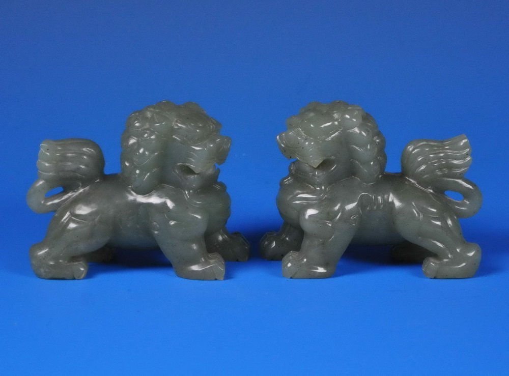2 Chinese Carved Jade Foo Dogs