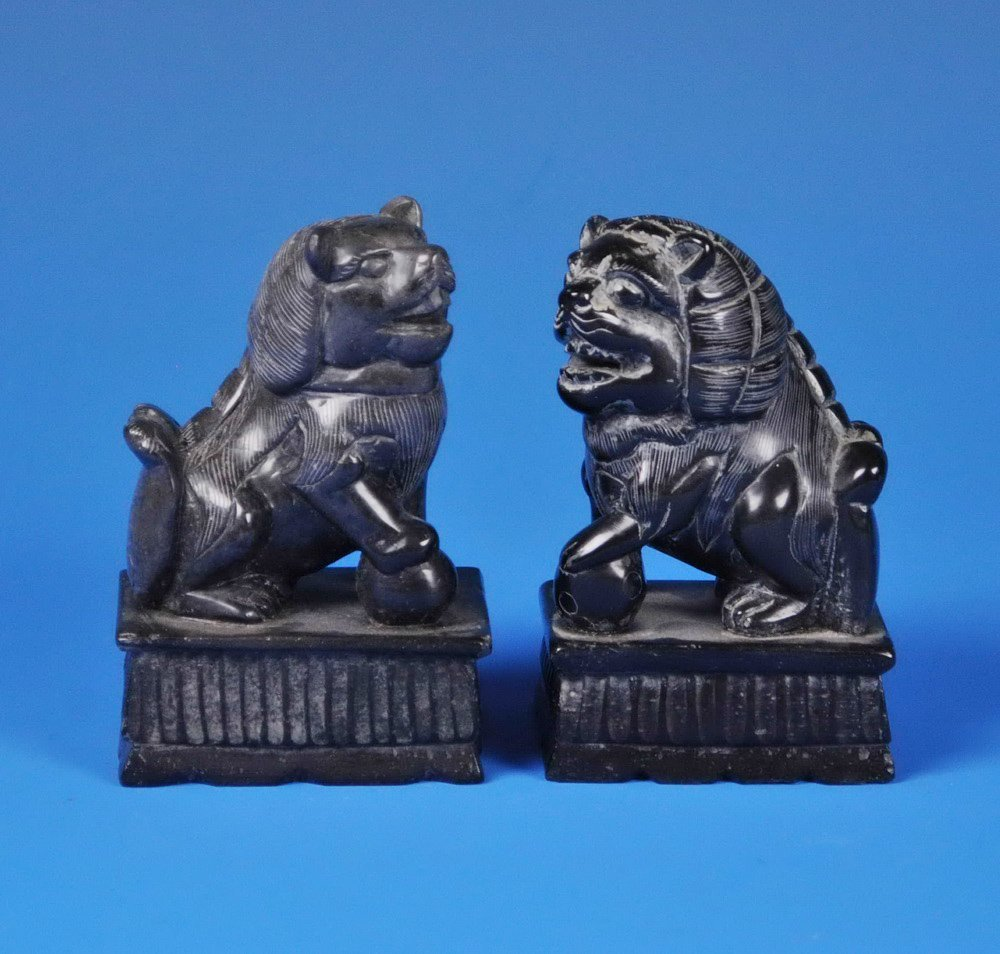 2 Chinese Carved Stone Foo Dogs