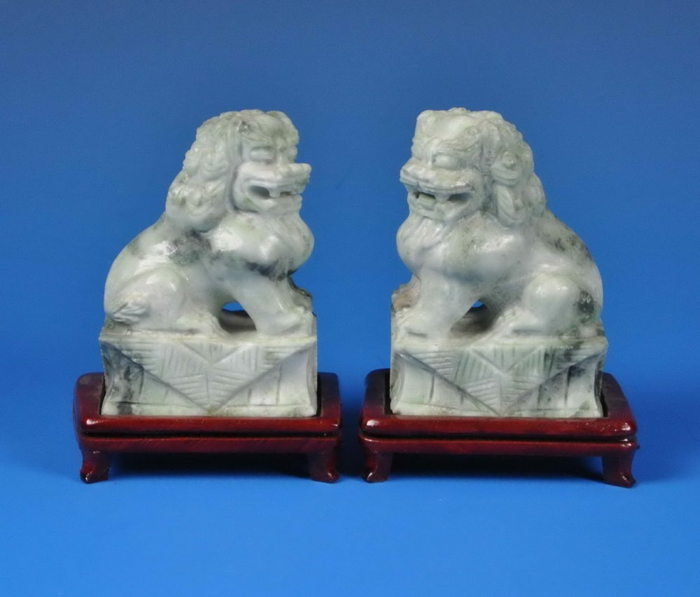 2 Chinese Carved Stone Foo Dogs w. Base