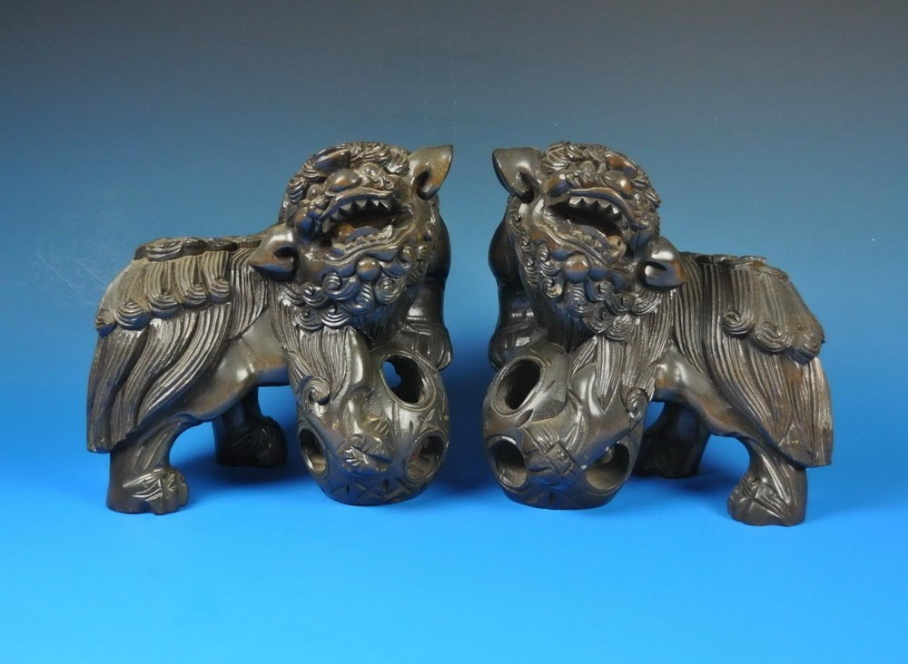 2 Large Chinese Carved Wood Foo Dogs