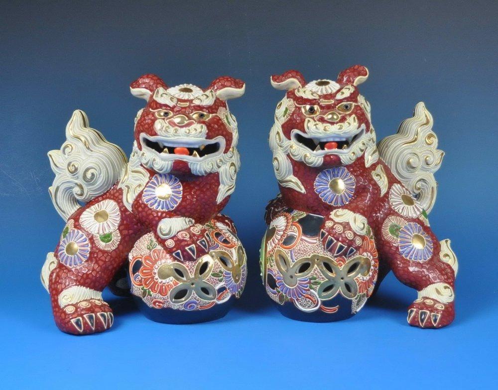 2 Large Japanese Porcelain Foo Dogs