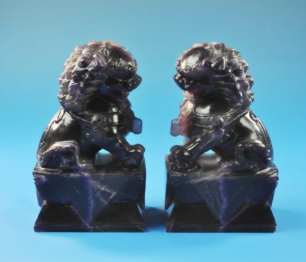 2 Large Chinese Carved Amethyst Foo Dogs