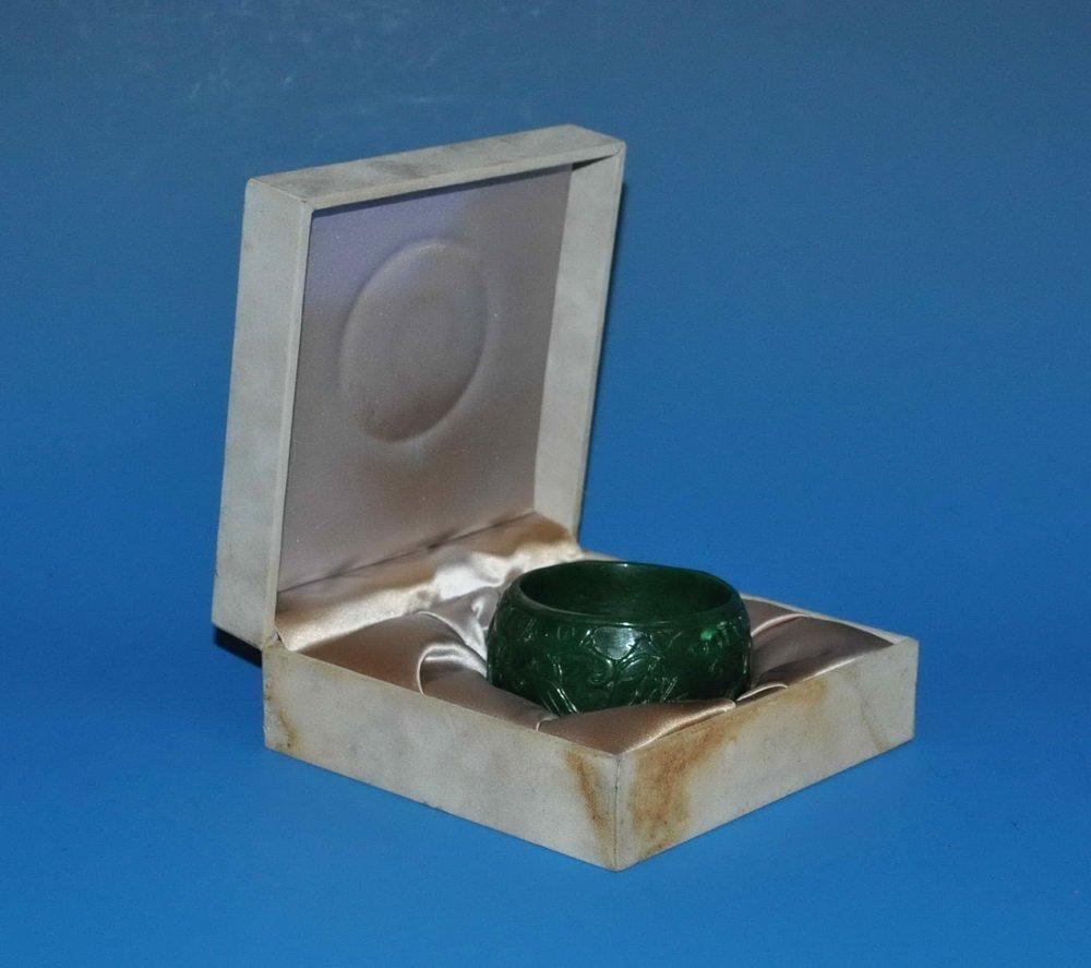 Large Green Jade Bracelet w. Box