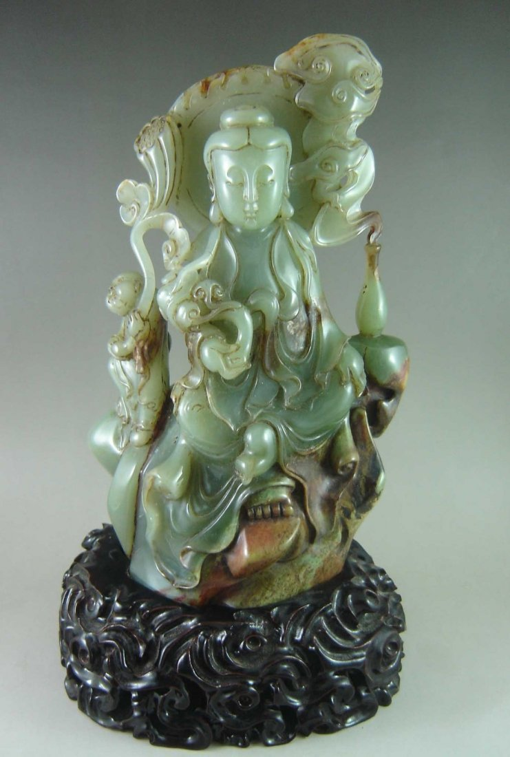 Chinese Jade Carved Guanyin w. Stand