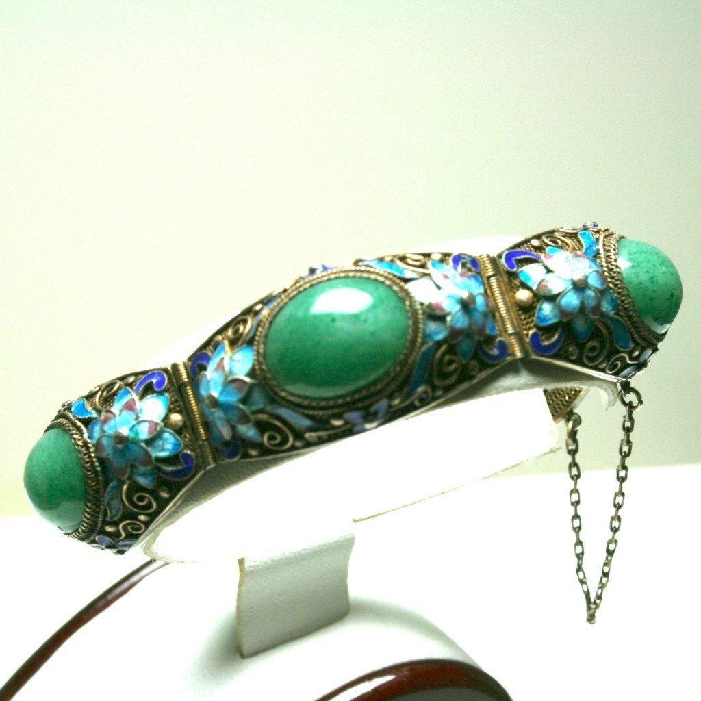 Chinese Jade & Enamel Flower Bracelet & Brooch