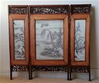 Chinese Wooden Inlaid Porcelan Panel