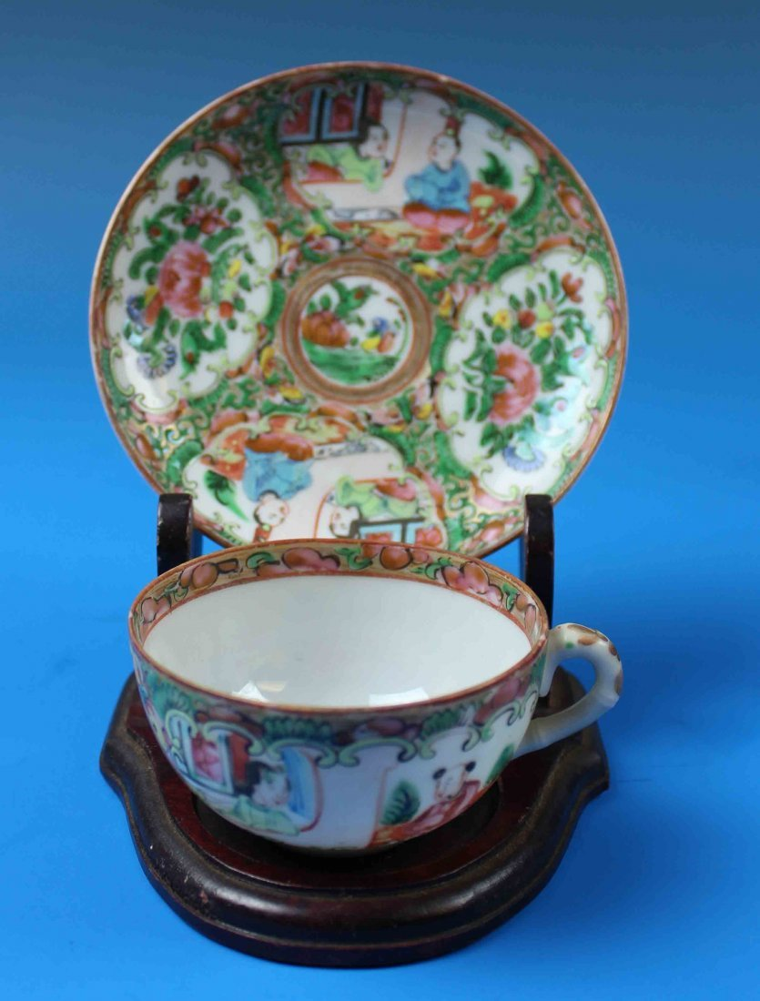 Chinese Rose Mandarin Porcelain Plate & Cup