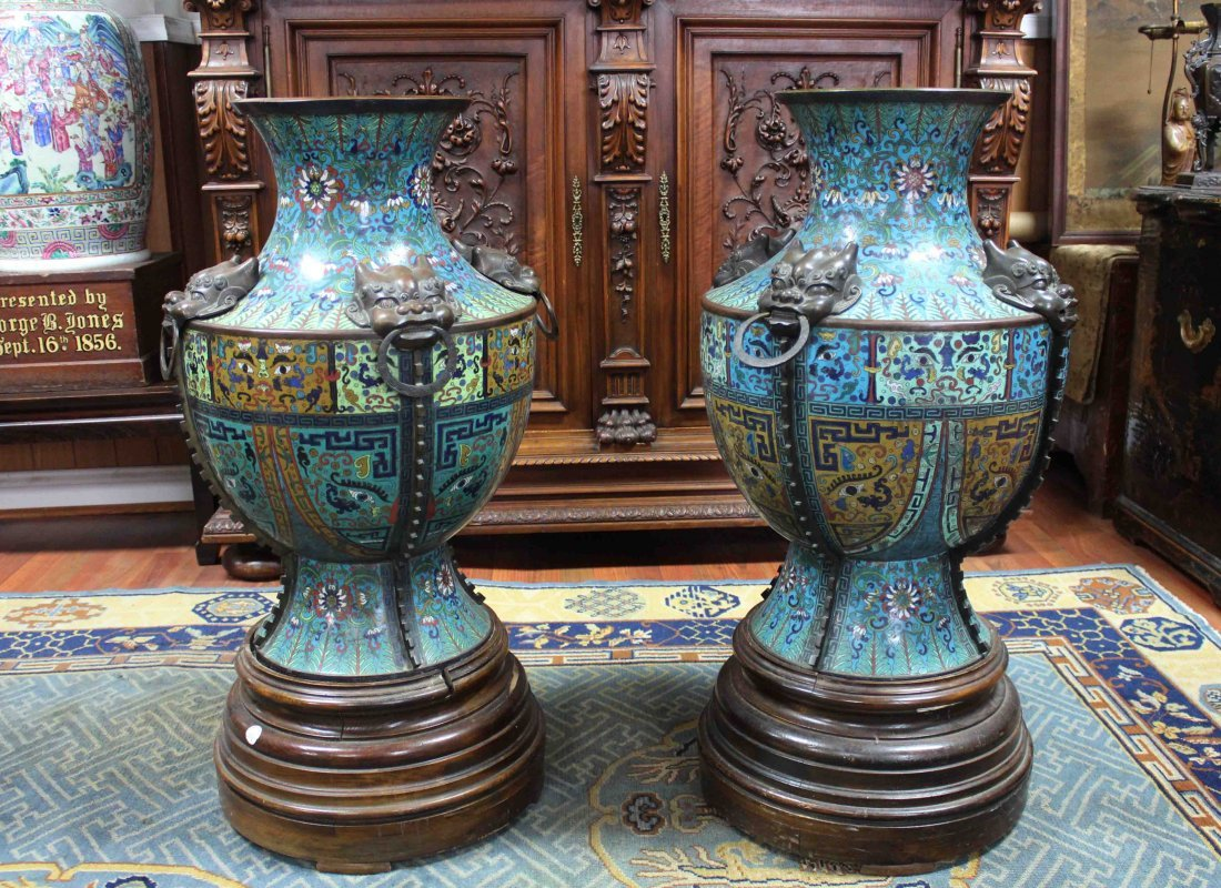 Pair Of Chinese Antique Huge Cloisonne Vases