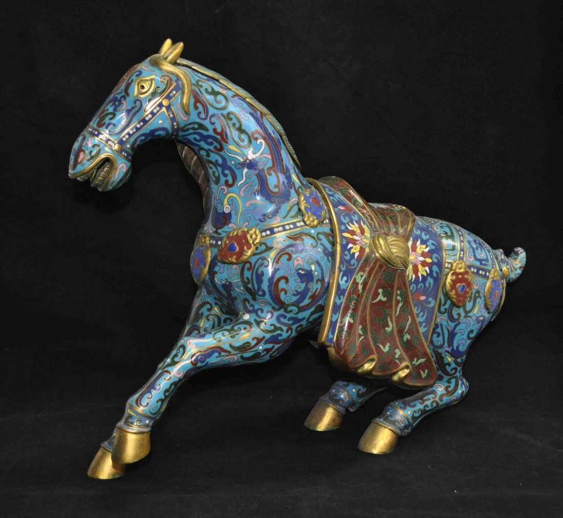 Chinese Antique Cloisonne Statue Of Horse