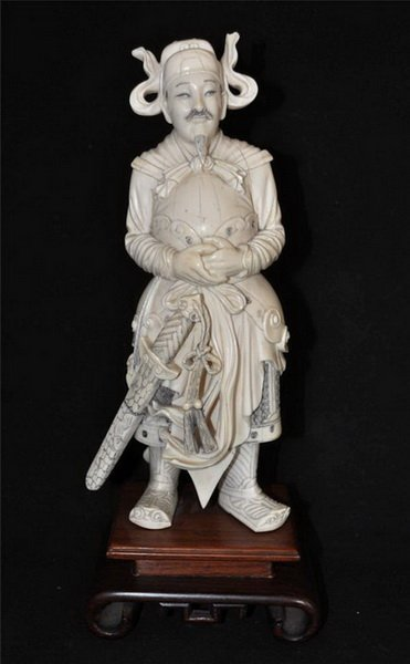 Chinese Carved Ivory Statue with Wood Base