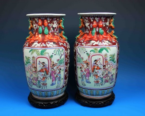 Pair Of Chinese Antique Vases w Base