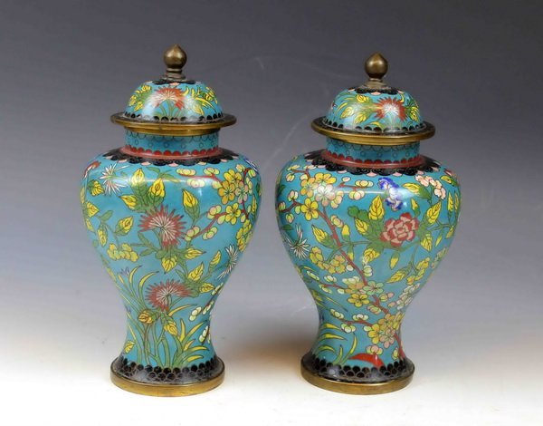 Pair Of Chinese Cloisonne Ginger Jars w Covers