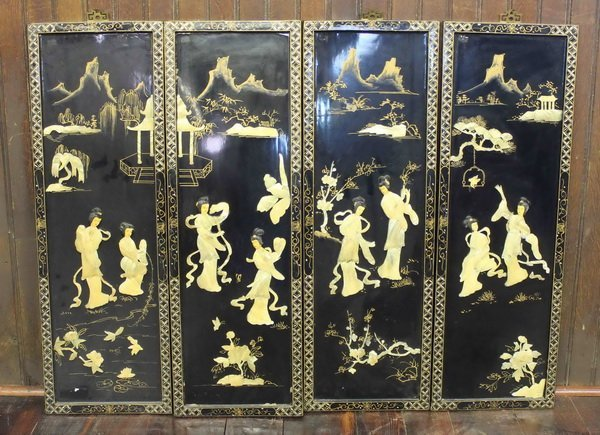 Four Chinese Wooden Inlaid shell Hanging Panels