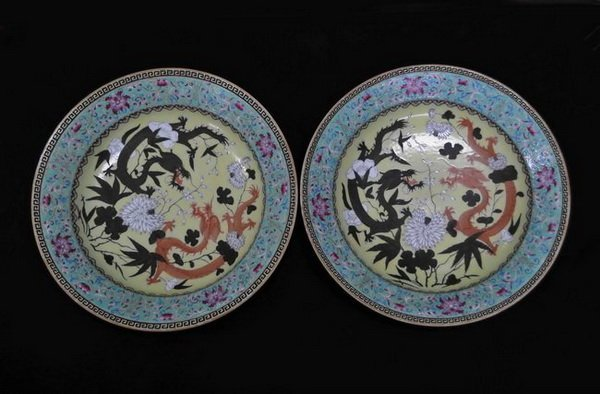 Pair Of Chinese Antique Porcelain Plates w Marked