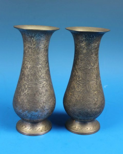 Pair Of Chinese Carved White Brass Vases