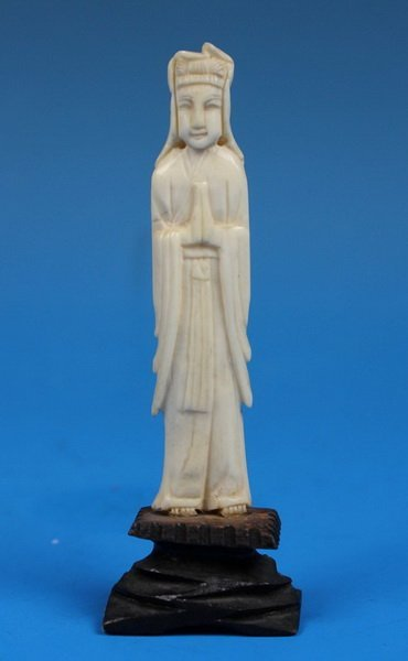 Chinese Carved Ivory Statue w.Base