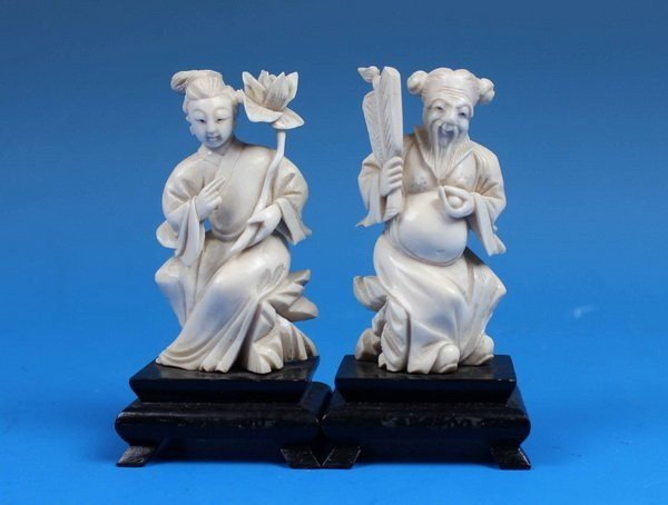 Pair Of Chinese Carved Ivory Statues w.Bases
