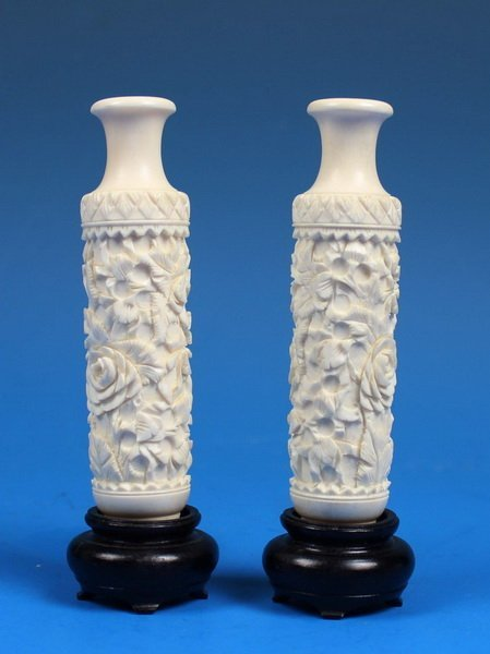 Pair Of Chinese Carved Ivory Vases w.Bases