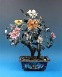 Chinese Jade Tree w.Cloisonne Pot