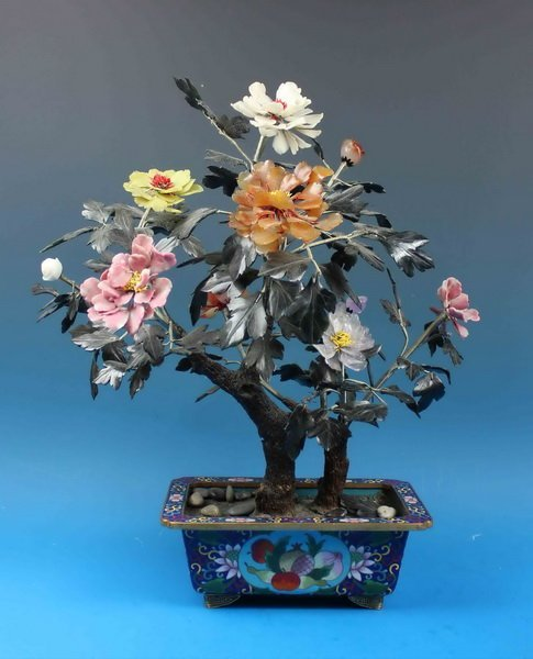 Chinese Jade Tree w.Cloisonne Pot
