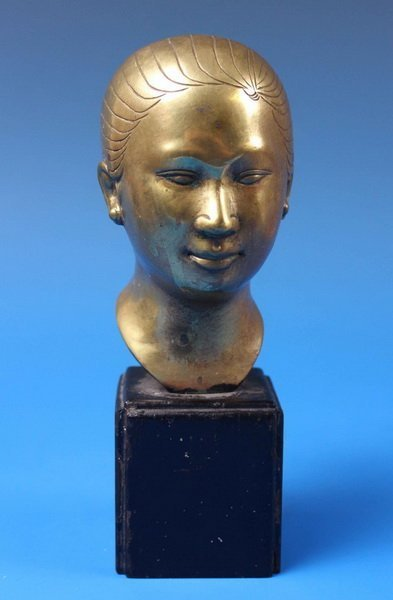 Chinese Bronze Statue w Wood Stand