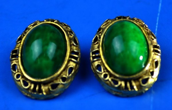 Chinese Carved Jadeite Earings