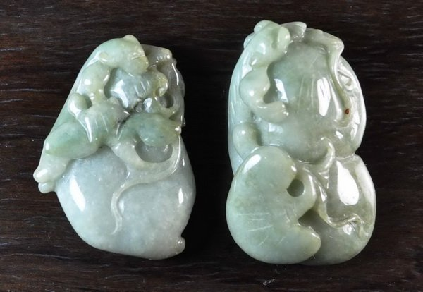 Lot Of Chinese Carved Jade Pendens
