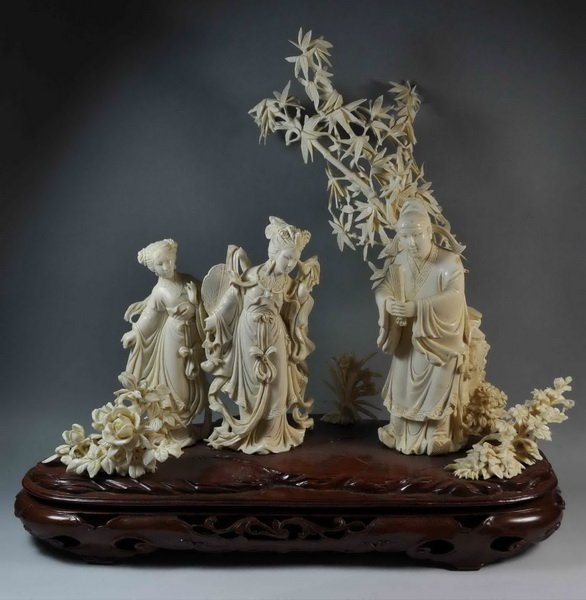 Large Chinese Carved Ivory Statue w,Base