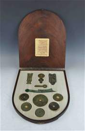 Antique Chinese Bronze Coins w.Box