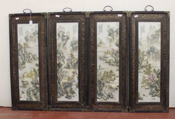 4 Chinese Porcelain Hanging Screens