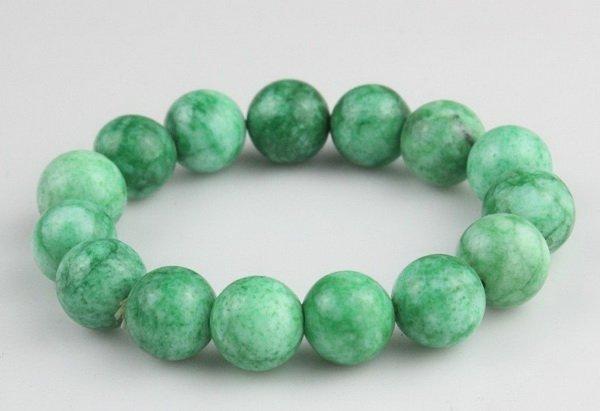 Chinese Jade Jadeite Round Bead Bracelet