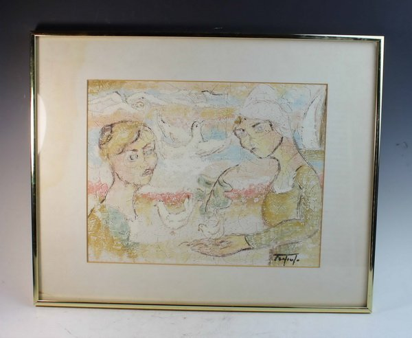 American Painting On Stone w.Frame