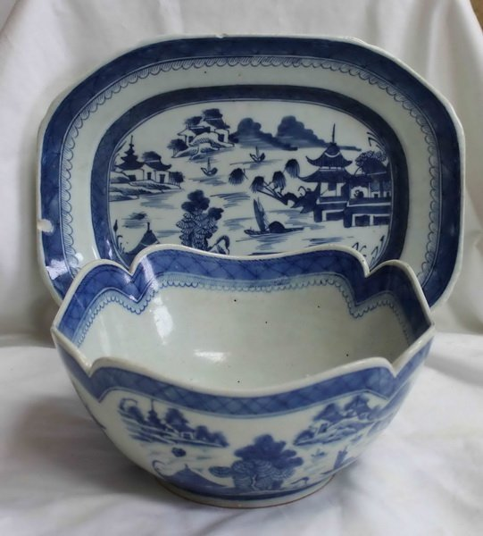 Chinese Export Large Bowl & Plate