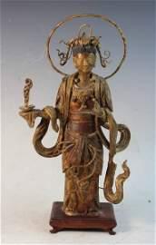 Chinese Antique Gilt Pottery Buddha
