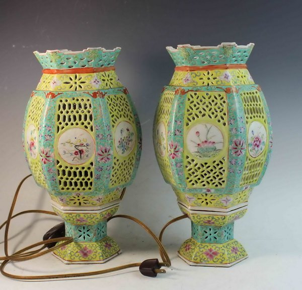 Pair Of Chinese Antique Porcelain Lamps