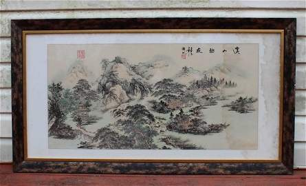 Chinese Water color picture w.Frame