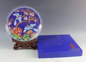 Chinese Export Cloisonne Plate W/box