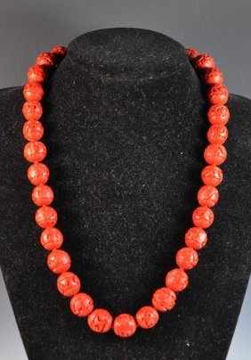 Chinese Carved Cinnabar Bead Necklace