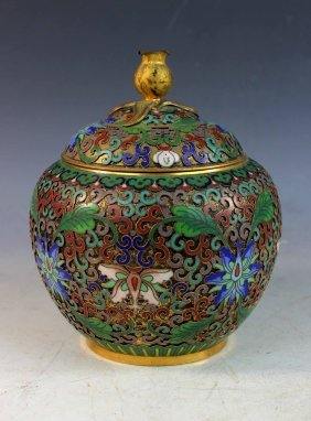 Chinese Cloisonne Tea Caddy