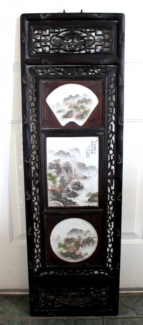 Chinese Hand Painted Porcelain Hanging Panel