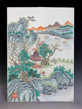 Chinese Hand Painting On Porcelain Hanging Panel
