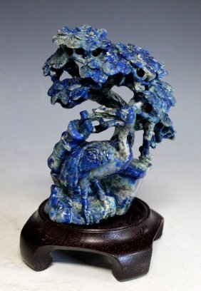 Chinese Carved Lapis Lazuli Statue Of Bird W/wood Stand