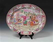 Chinese Antique Large Rose Mandarin Porcelain Plate