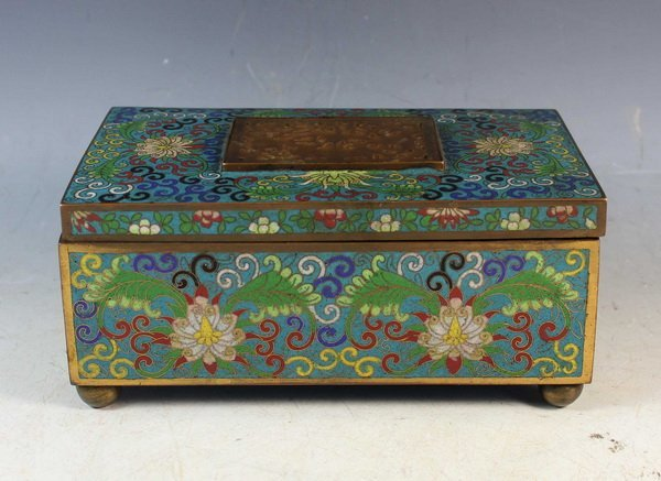 Chinese Antique Cloisonne Box Inlaid Jade
