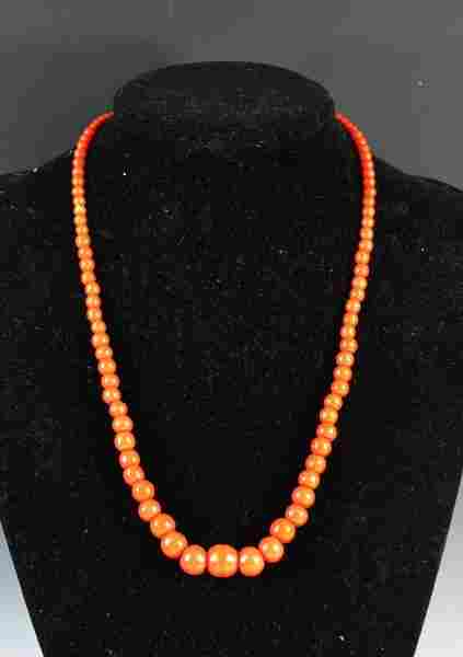 Chinese Carved Stone Beads Necklace