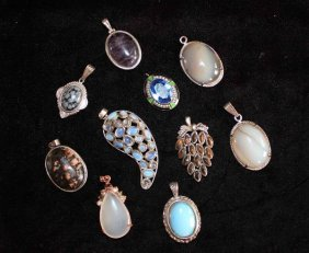 Group Of Carved Jade & Stone Pendants